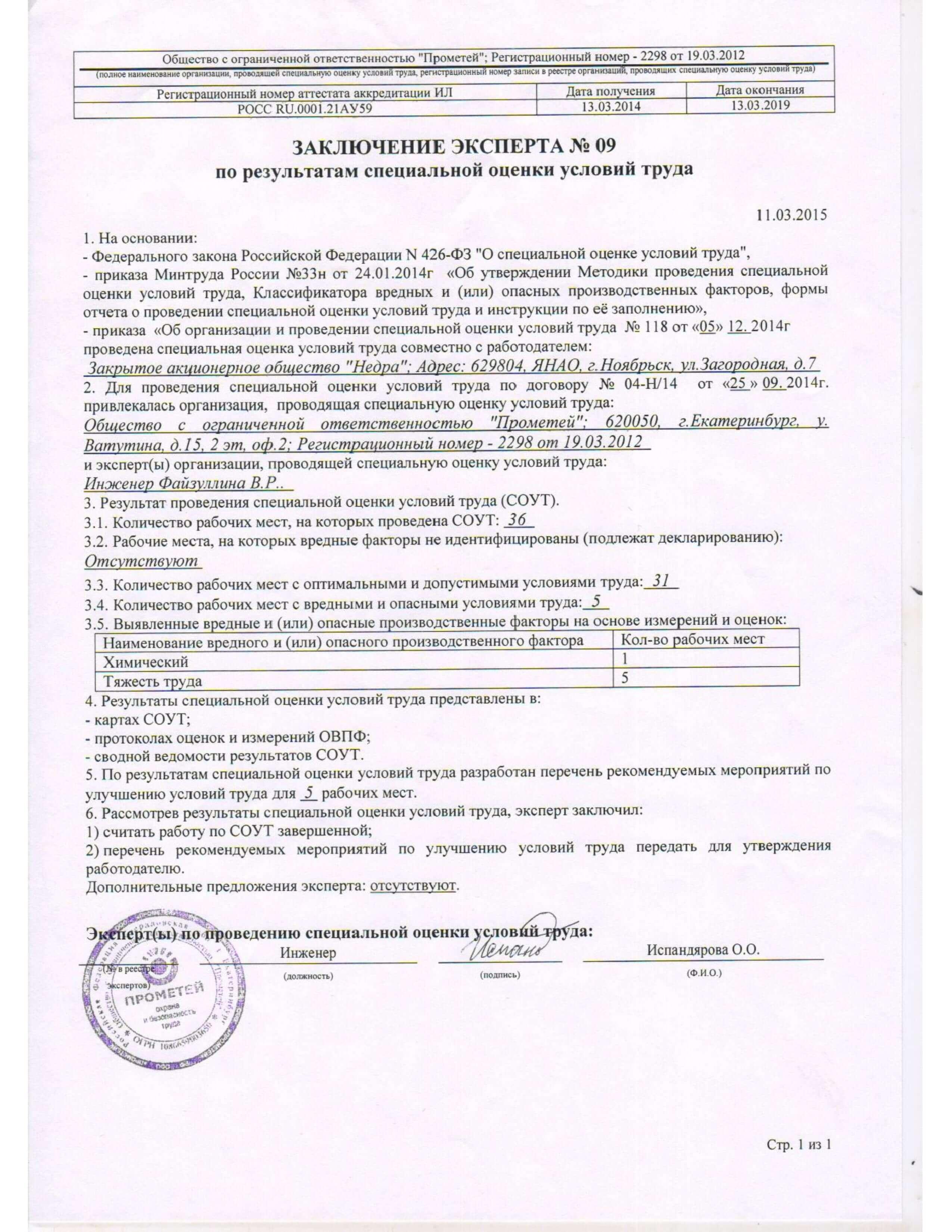 Отчет о проведении оценки условия труда стр.2